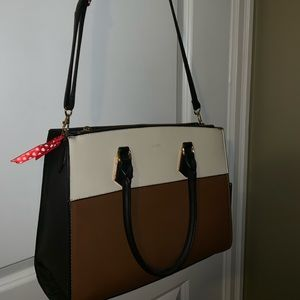 cream and brown Aldo purse